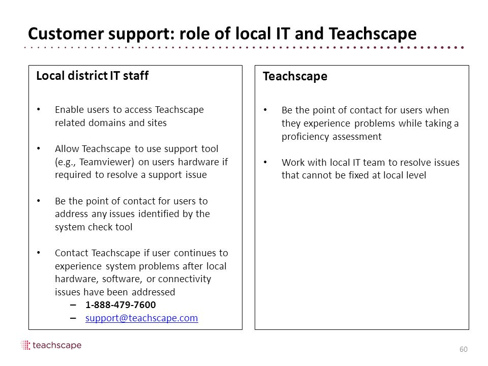 Customer support: role of local IT and Teachscape