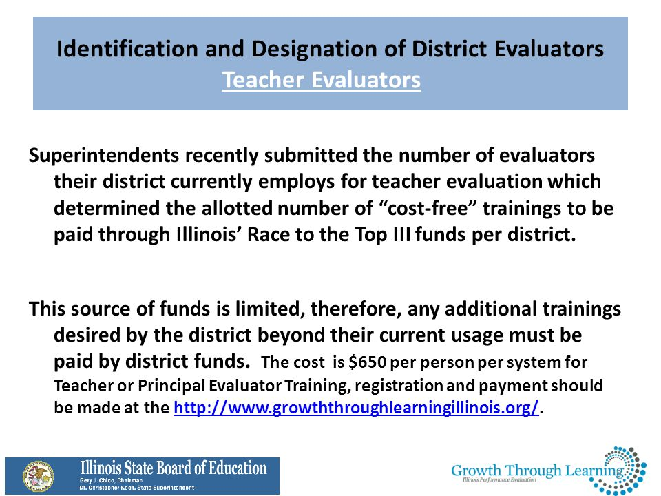 Identification and Designation of District Evaluators Teacher Evaluators