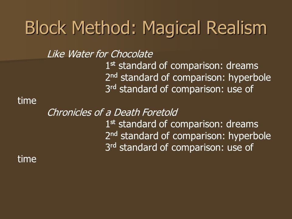 like water chocolate magical realism essay This story is what a person should call fantastic sublime with magical realism like water for chocolate quote essay like water for chocolate chapter six.