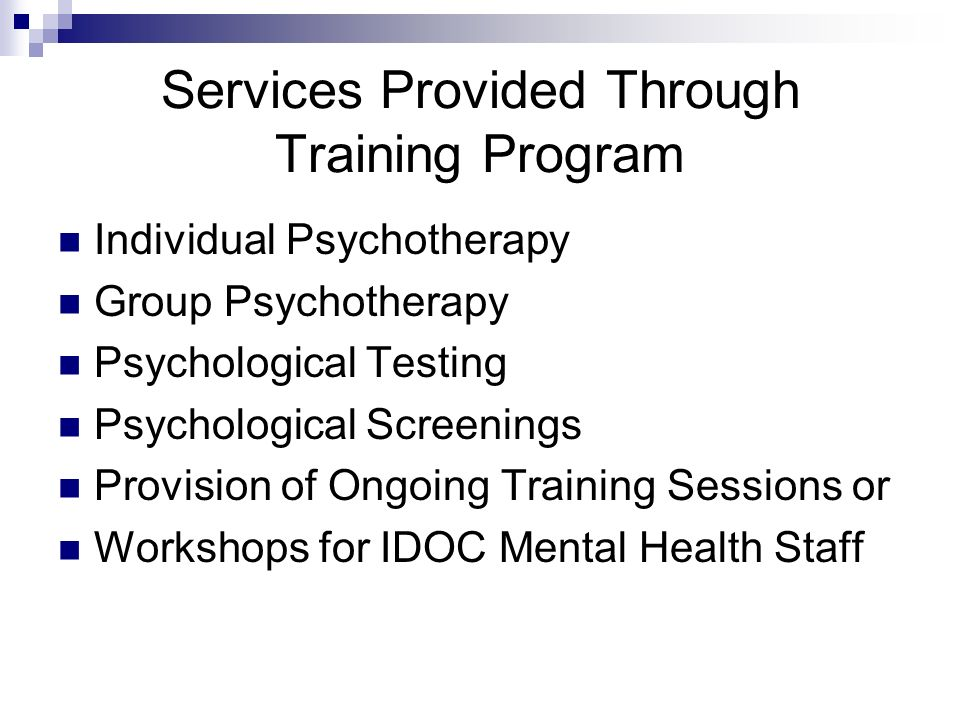 Services Provided Through Training Program