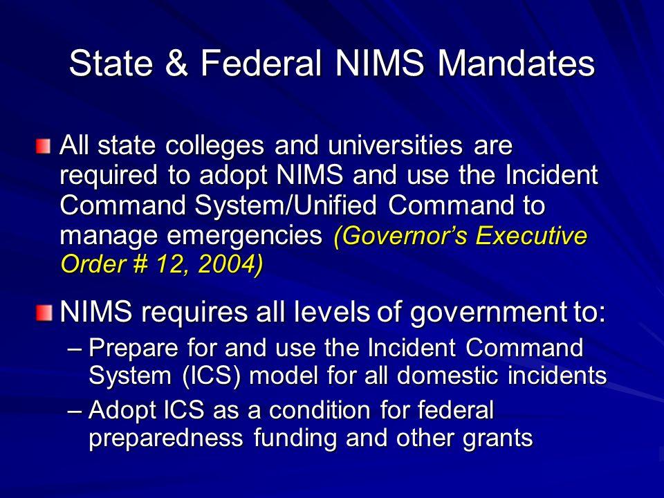 State & Federal NIMS Mandates