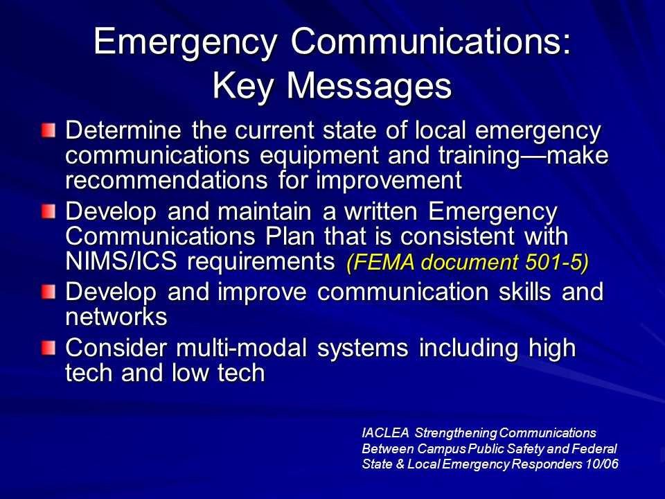 Emergency Communications: Key Messages