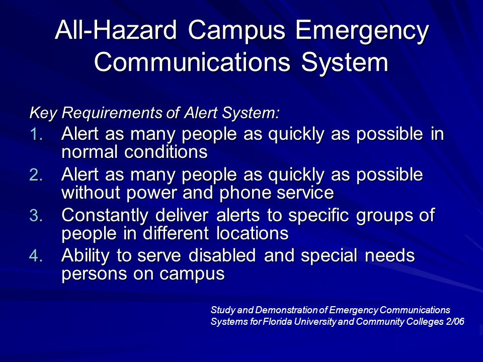 All-Hazard Campus Emergency Communications System