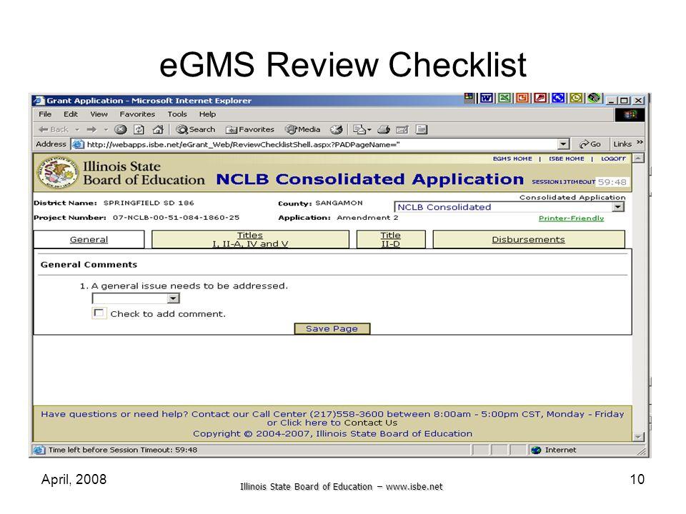 eGMS Review Checklist April, 2008