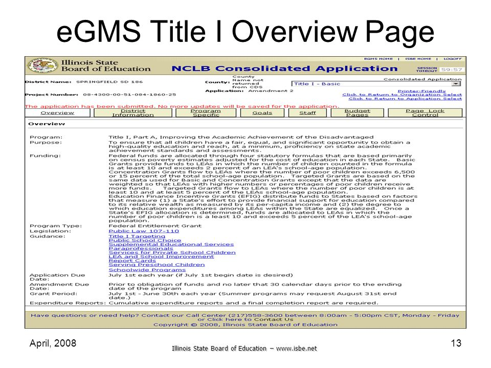 eGMS Title I Overview Page