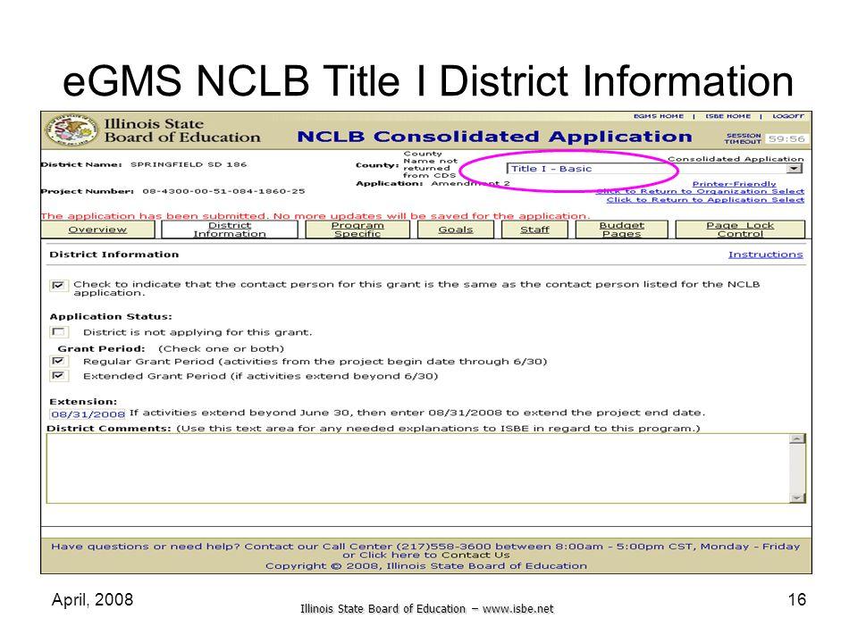 eGMS NCLB Title I District Information