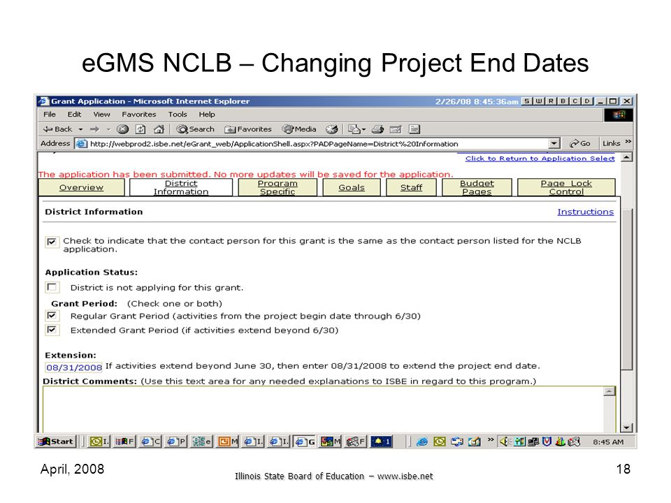 eGMS NCLB – Changing Project End Dates