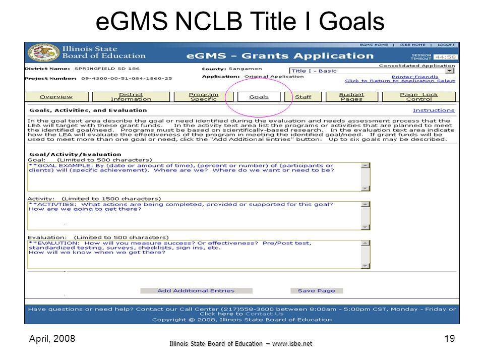 eGMS NCLB Title I Goals April, 2008