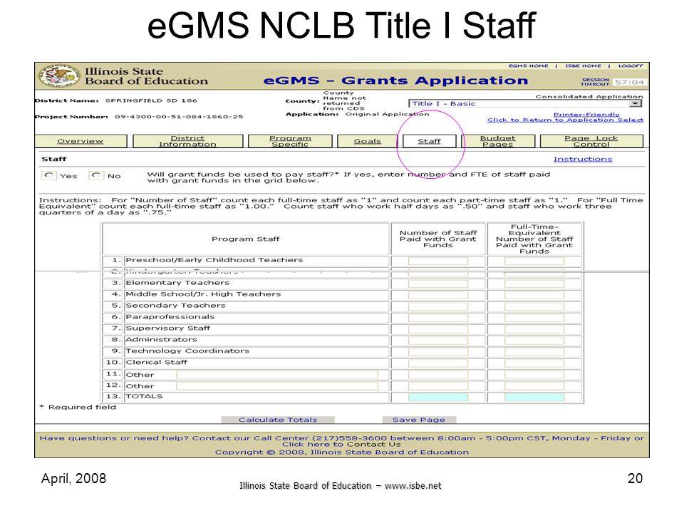 eGMS NCLB Title I Staff April, 2008