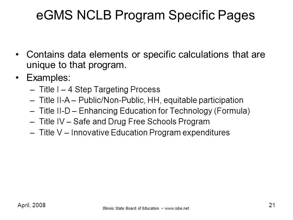 eGMS NCLB Program Specific Pages