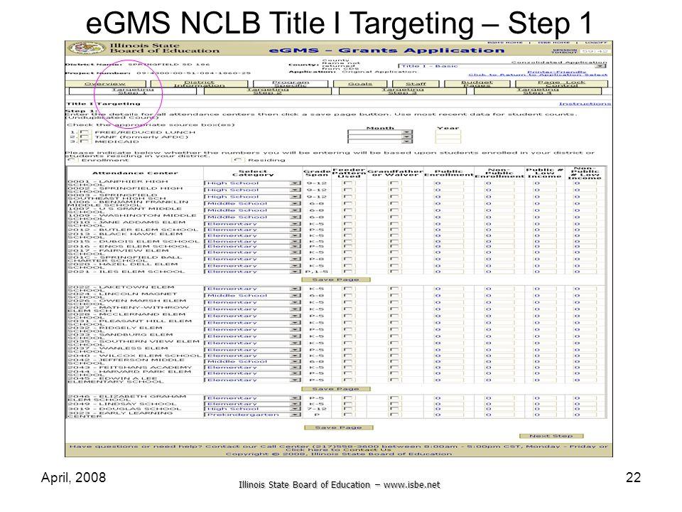 eGMS NCLB Title I Targeting – Step 1