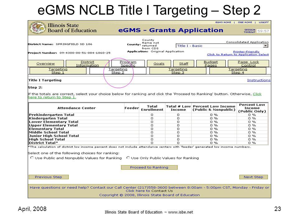 eGMS NCLB Title I Targeting – Step 2