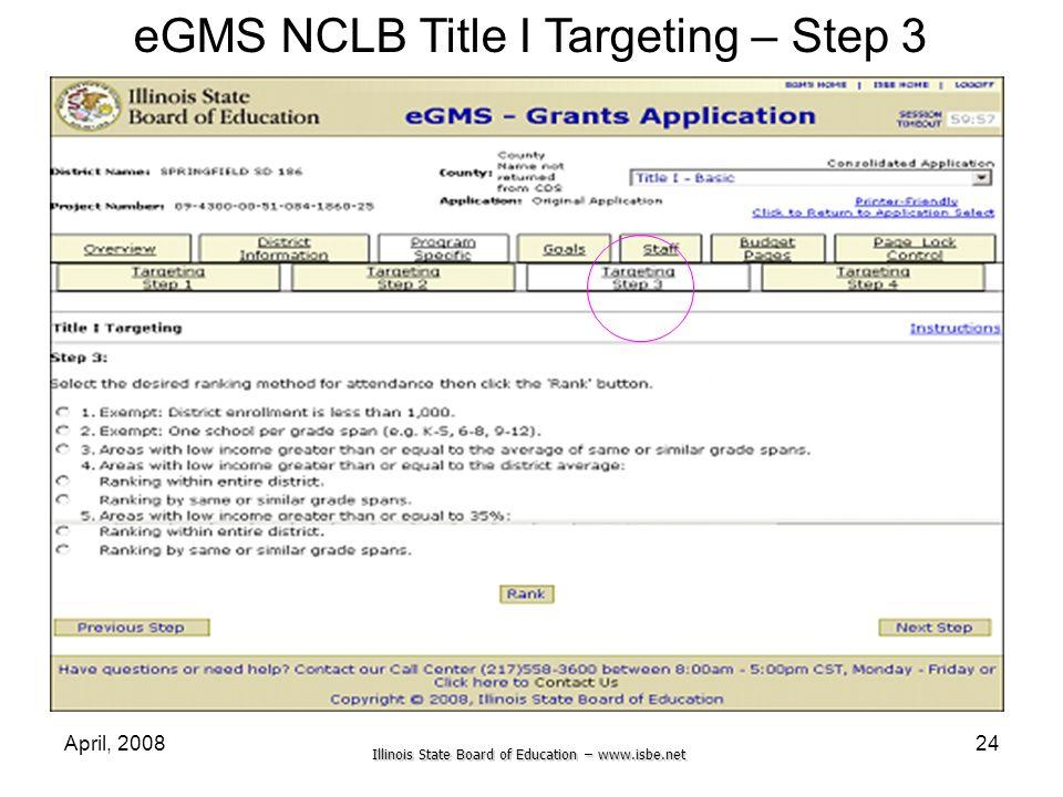 eGMS NCLB Title I Targeting – Step 3