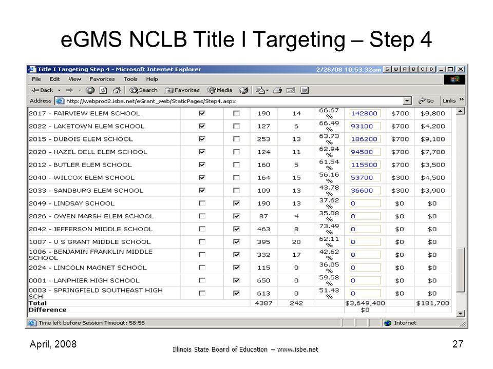 eGMS NCLB Title I Targeting – Step 4