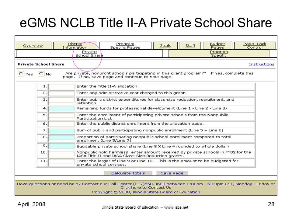 eGMS NCLB Title II-A Private School Share