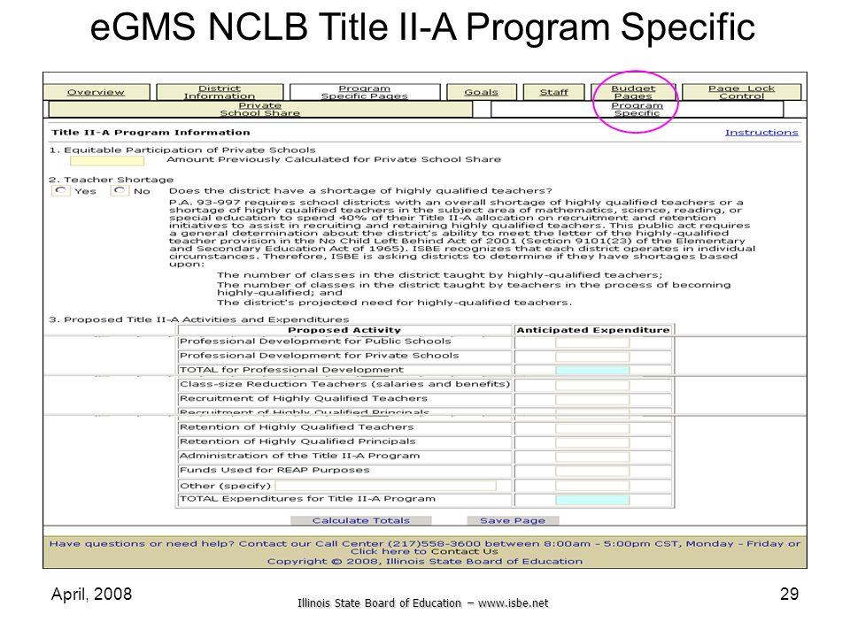 eGMS NCLB Title II-A Program Specific
