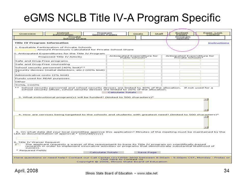 eGMS NCLB Title IV-A Program Specific