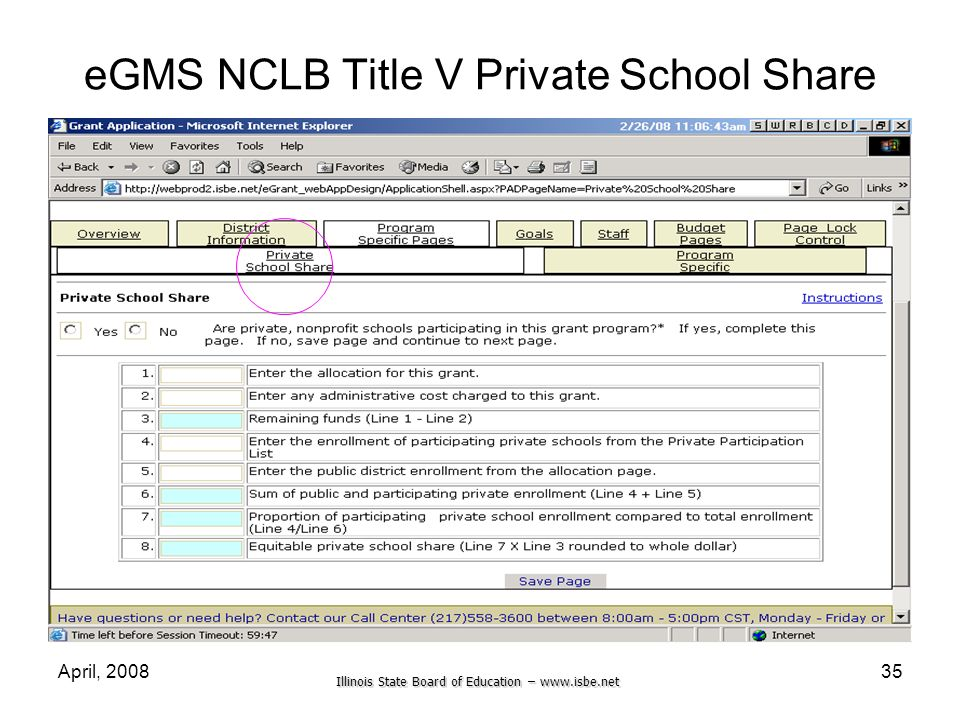 eGMS NCLB Title V Private School Share
