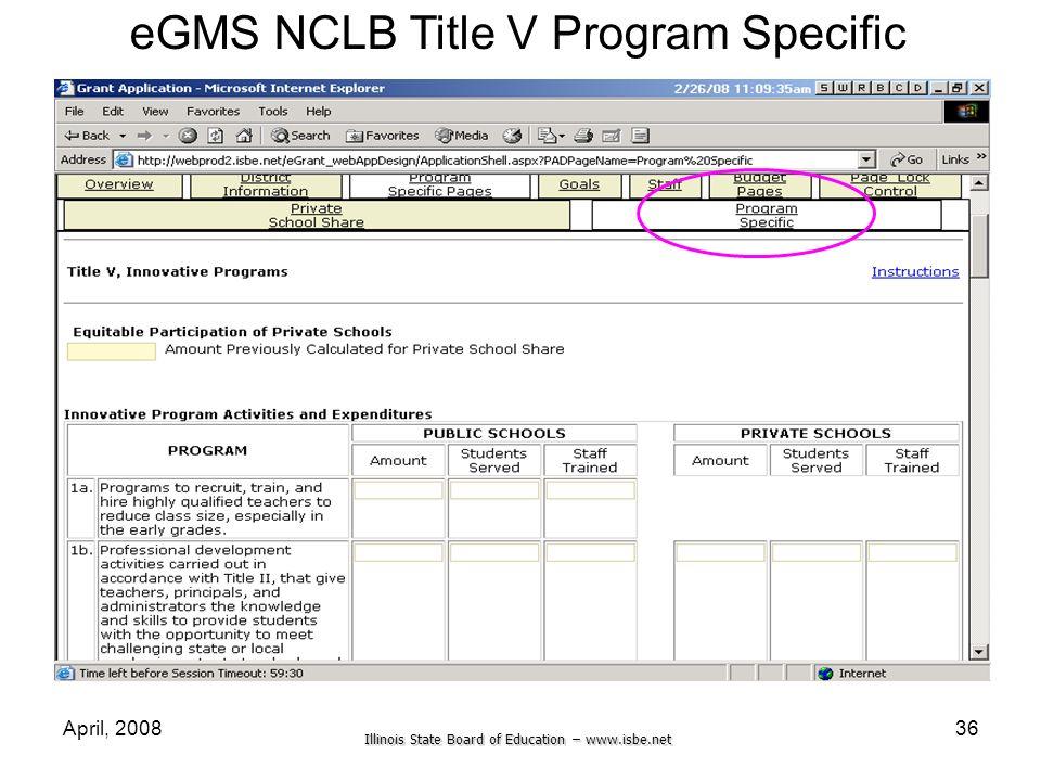 eGMS NCLB Title V Program Specific