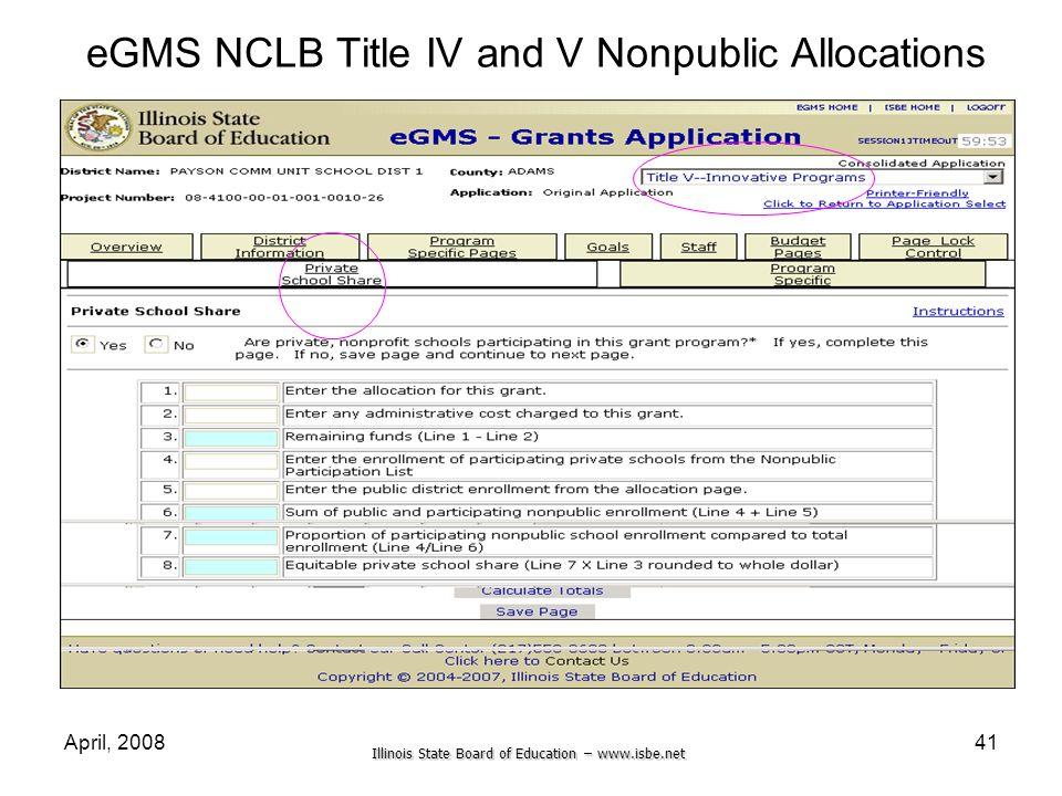 eGMS NCLB Title IV and V Nonpublic Allocations