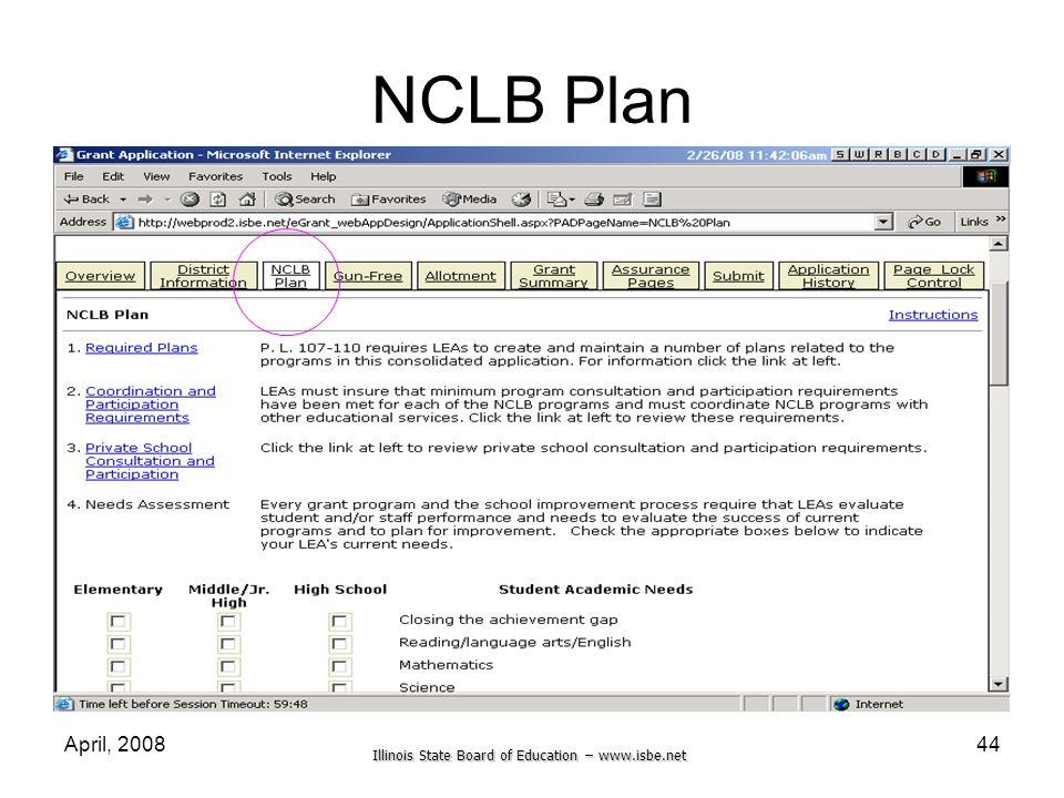 NCLB Plan April, 2008