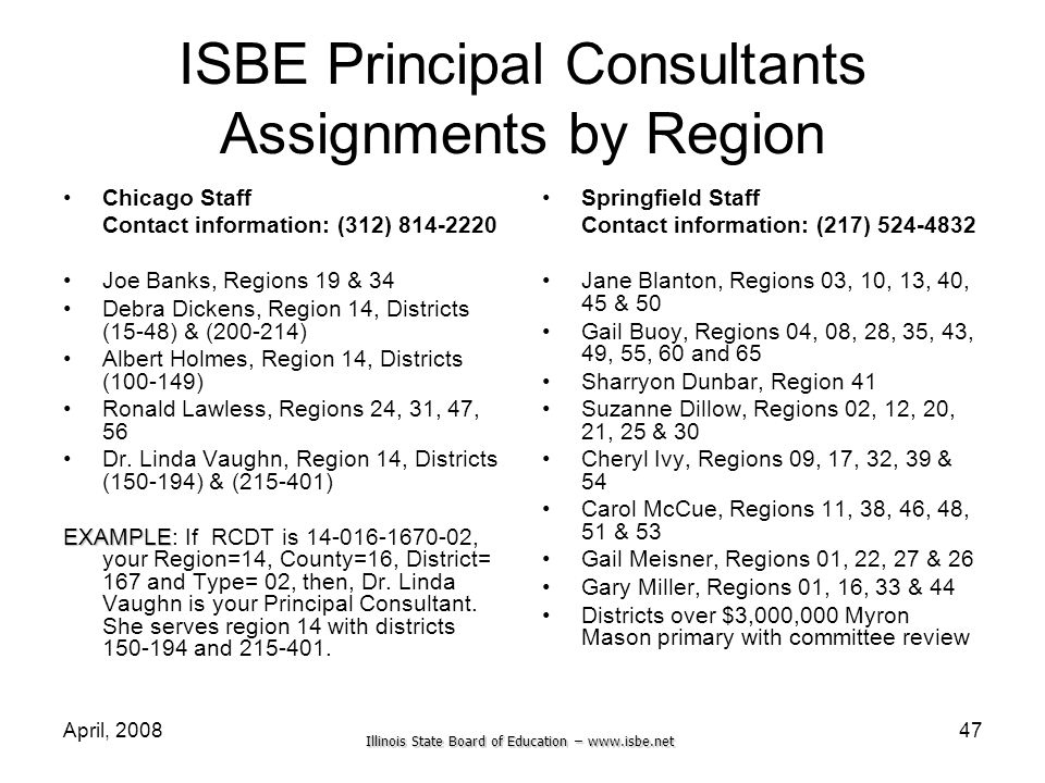ISBE Principal Consultants Assignments by Region
