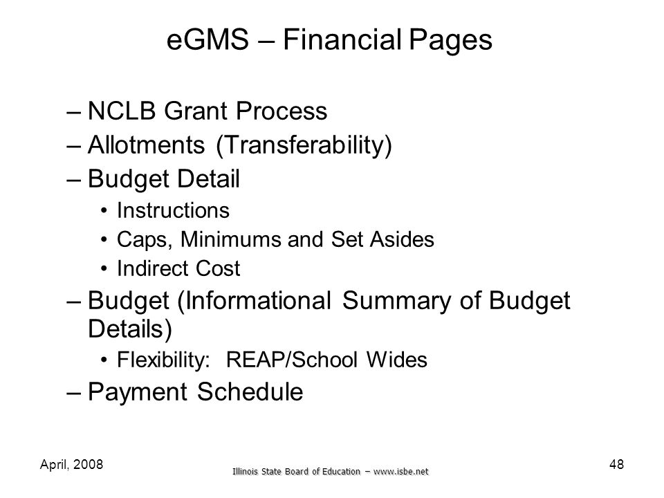 eGMS – Financial Pages NCLB Grant Process Allotments (Transferability)