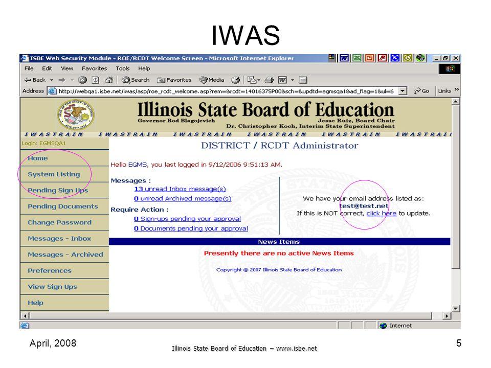 IWAS April, 2008