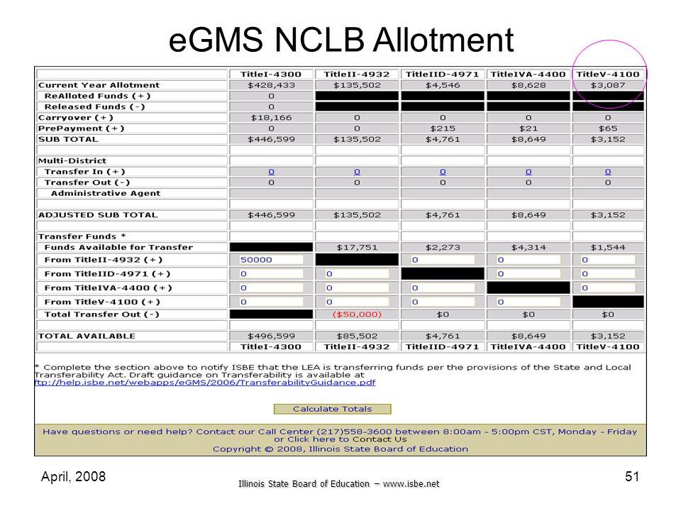 eGMS NCLB Allotment April, 2008