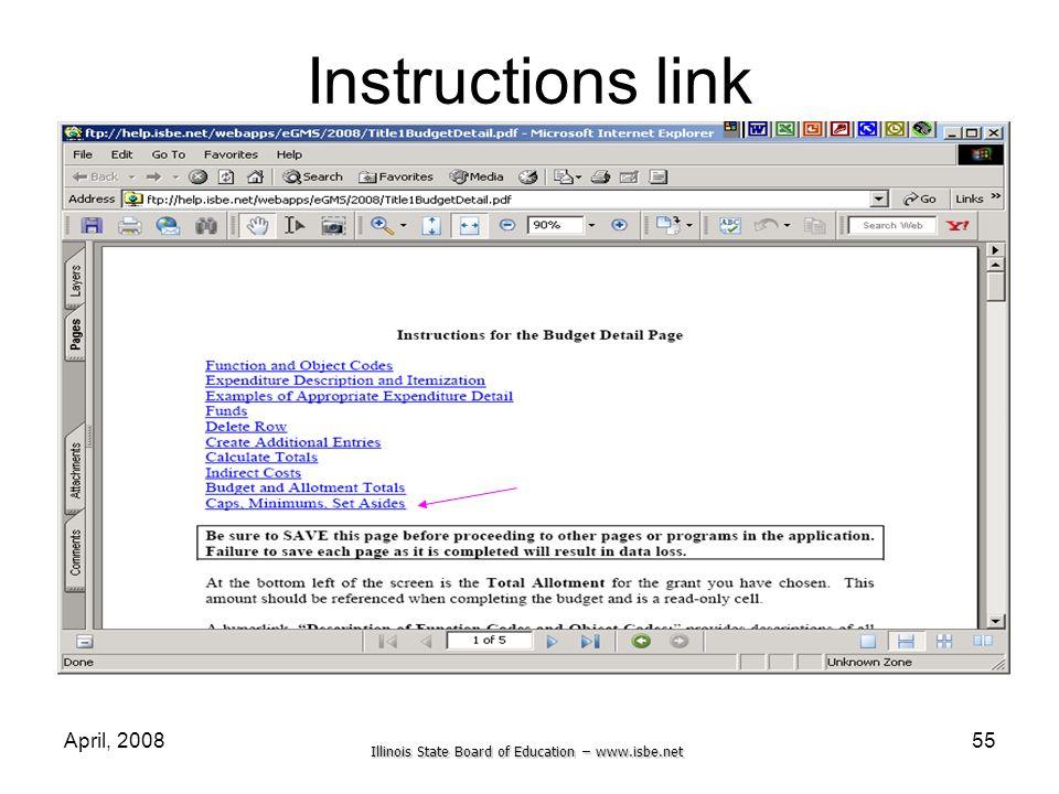 Instructions link April, 2008