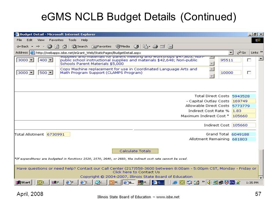 eGMS NCLB Budget Details (Continued)