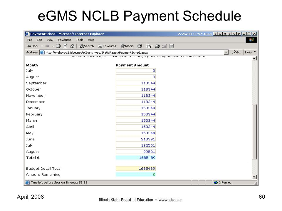 eGMS NCLB Payment Schedule