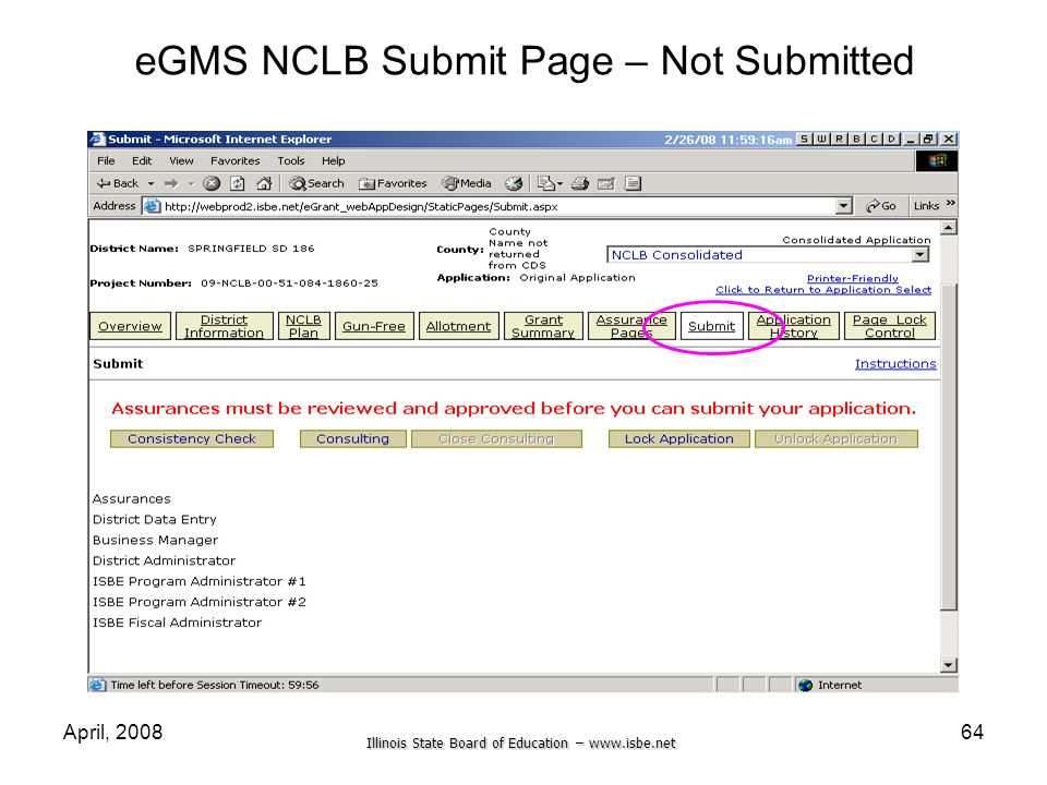 eGMS NCLB Submit Page – Not Submitted