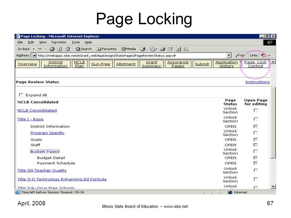 Page Locking April, 2008