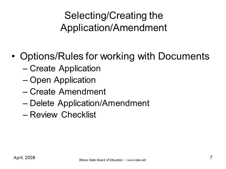 Selecting/Creating the Application/Amendment