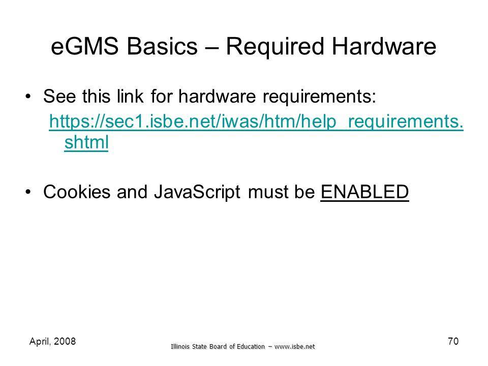 eGMS Basics – Required Hardware