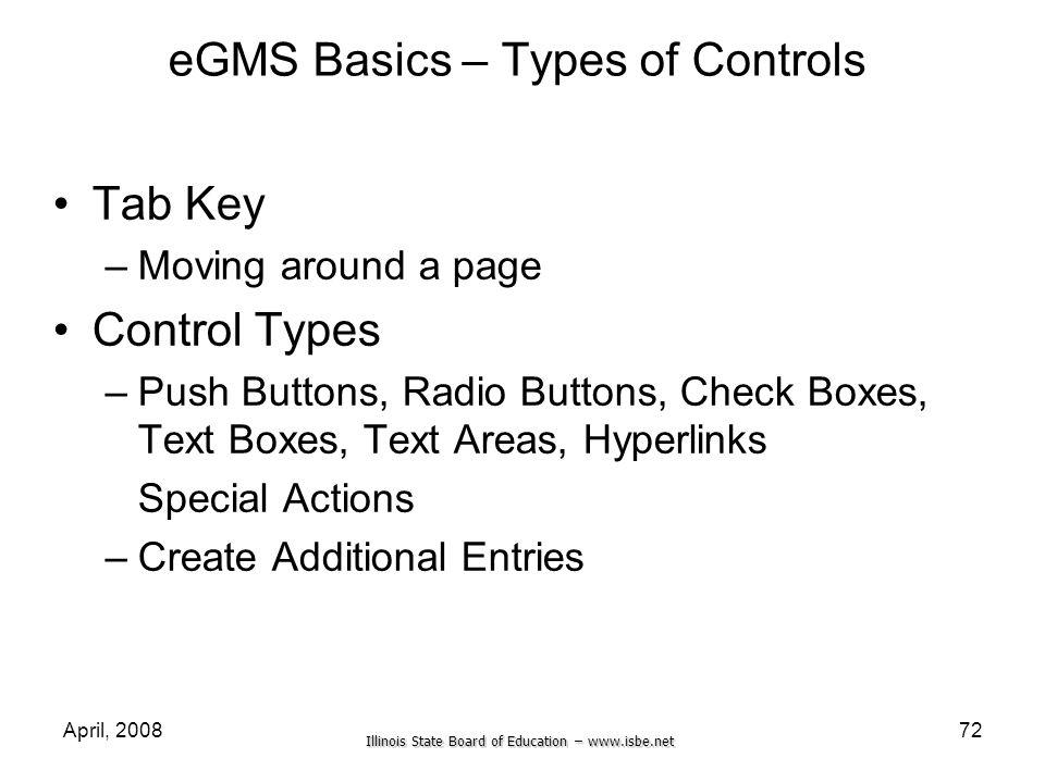 eGMS Basics – Types of Controls