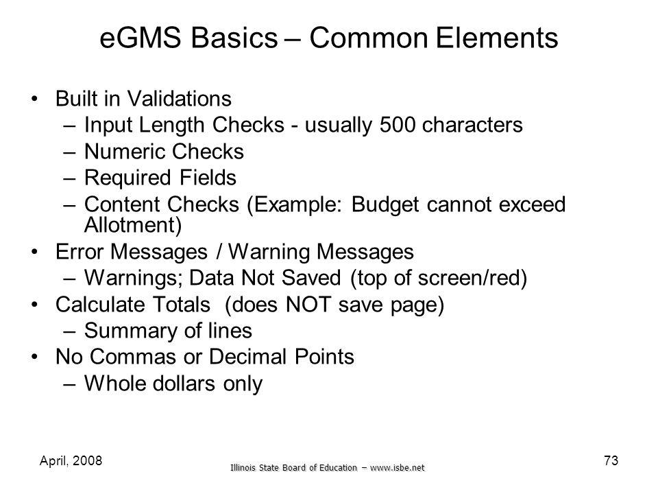 eGMS Basics – Common Elements