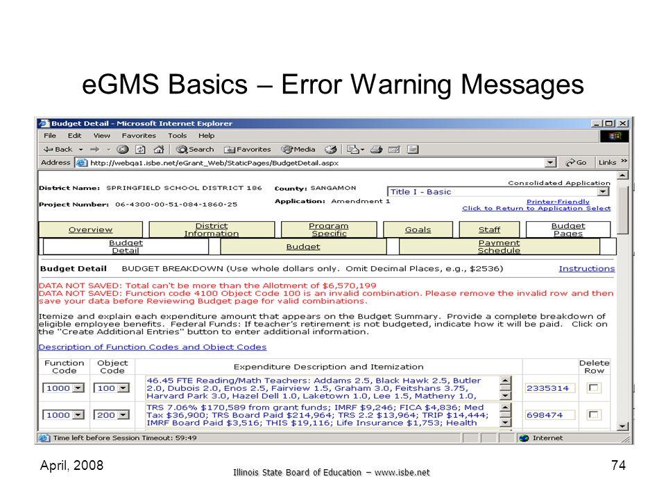 eGMS Basics – Error Warning Messages