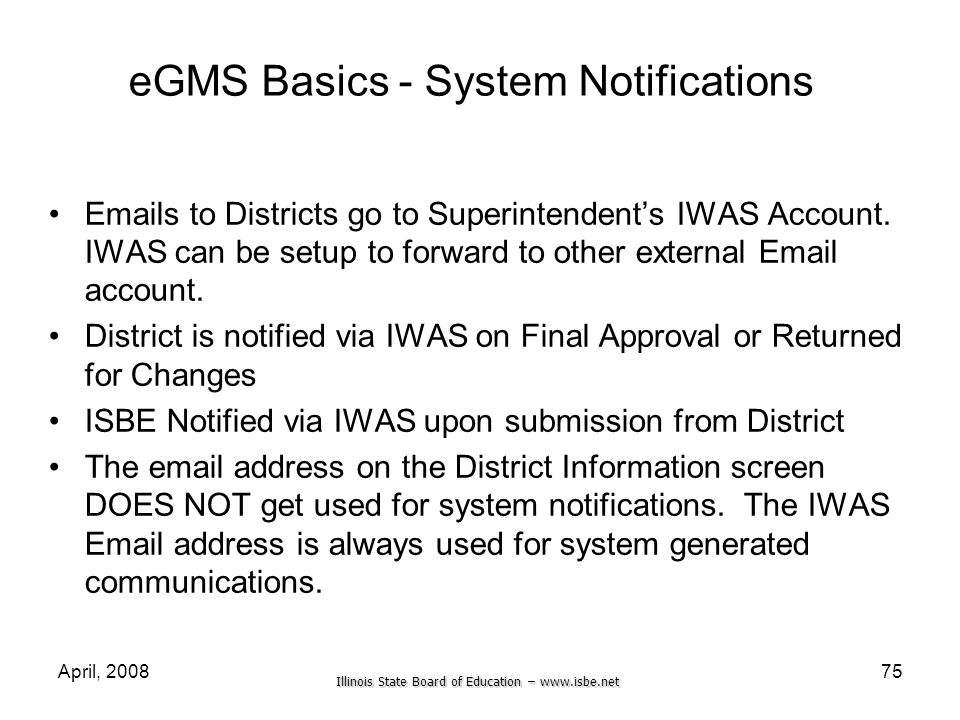 eGMS Basics - System Notifications