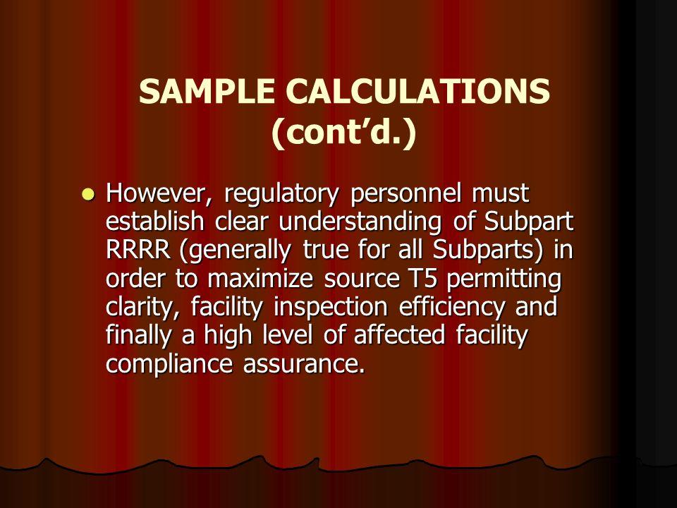 SAMPLE CALCULATIONS (cont'd.)