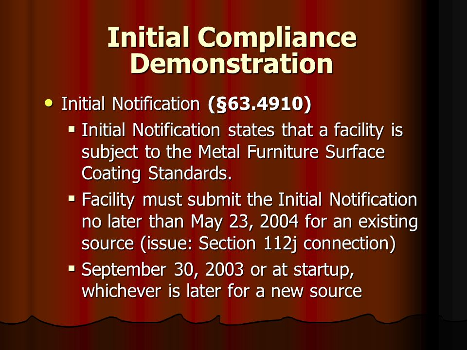 Initial Compliance Demonstration
