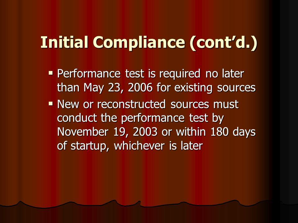 Initial Compliance (cont'd.)