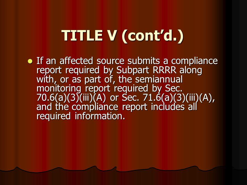 TITLE V (cont'd.)