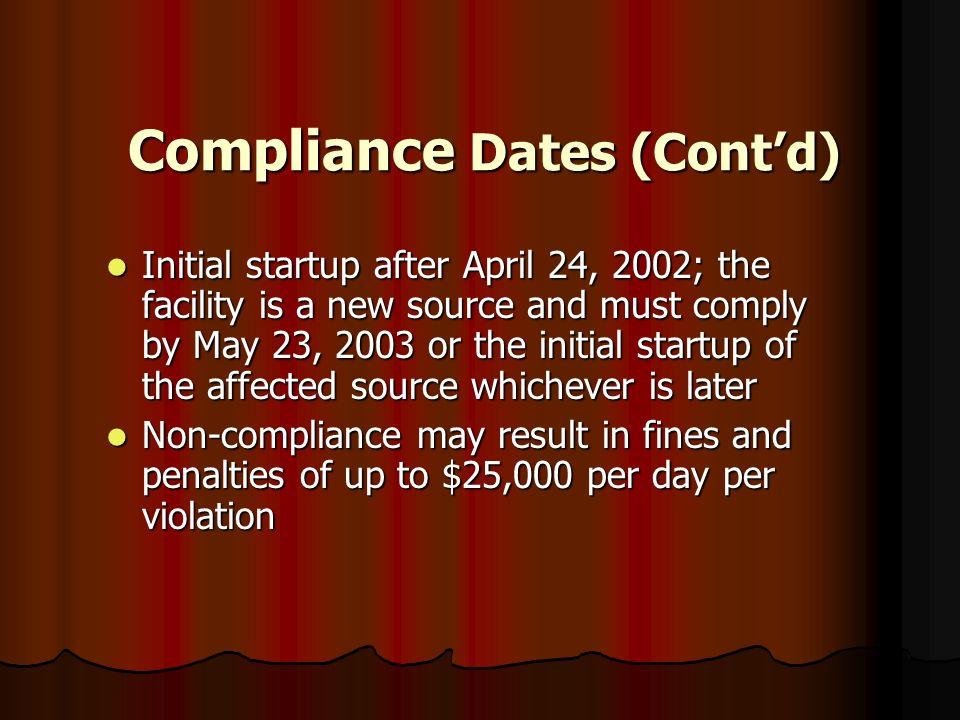 Compliance Dates (Cont'd)