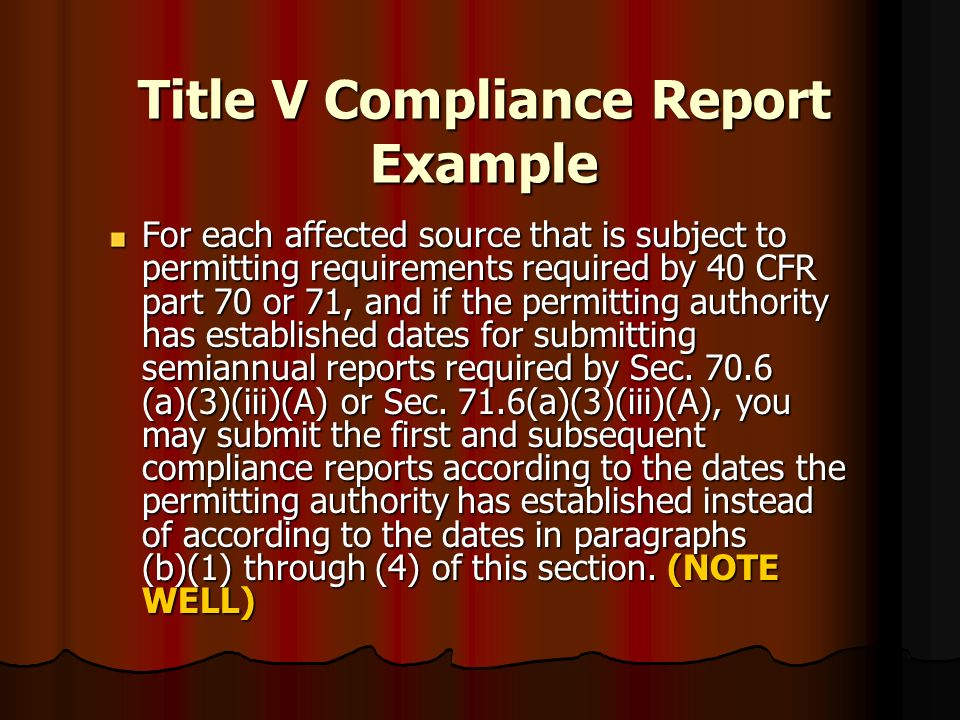 Title V Compliance Report Example