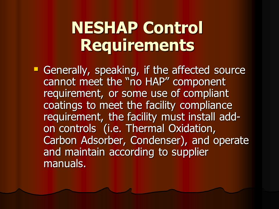 NESHAP Control Requirements