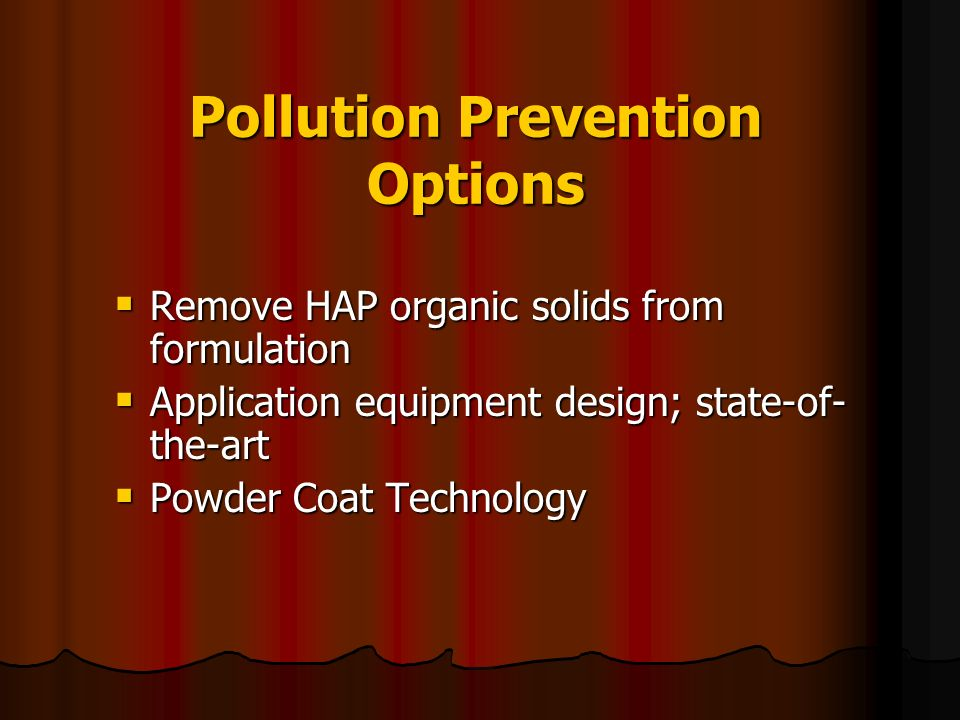 Pollution Prevention Options