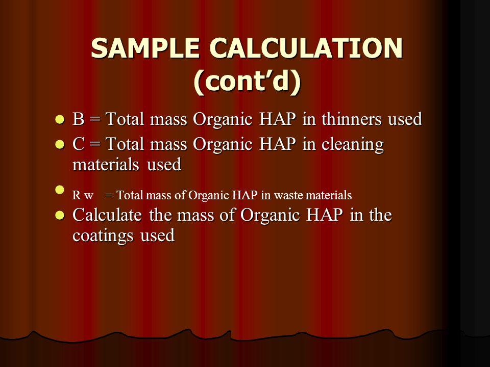 SAMPLE CALCULATION (cont'd)