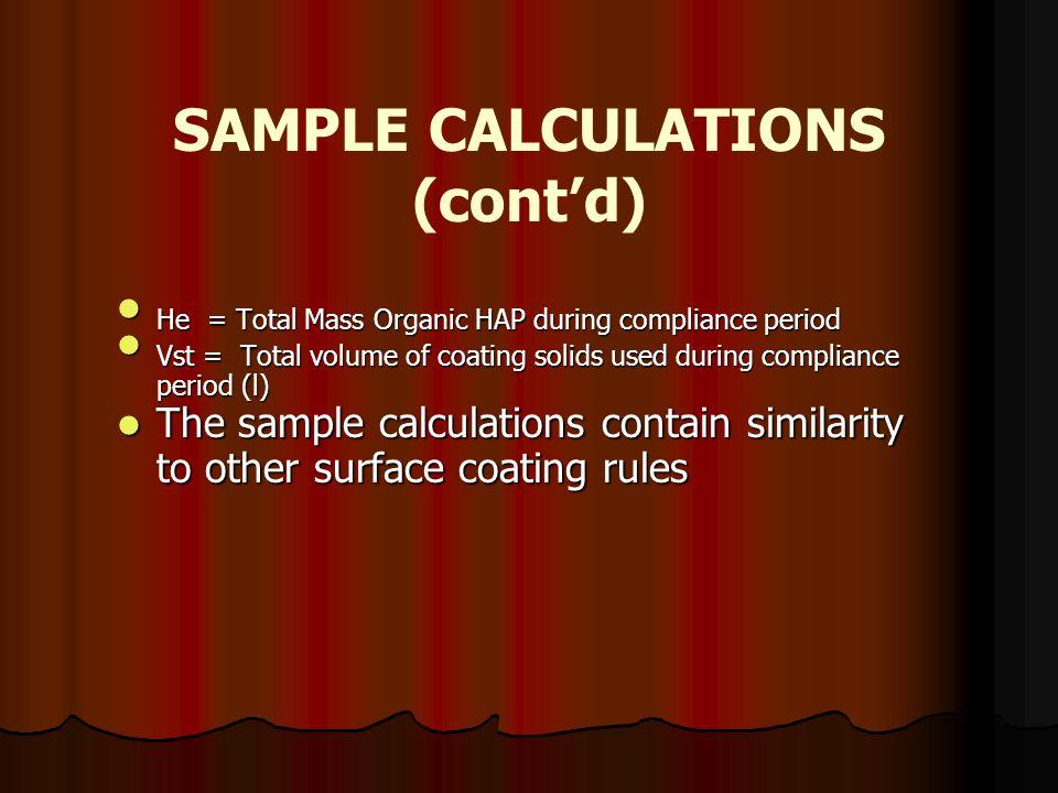 SAMPLE CALCULATIONS (cont'd)